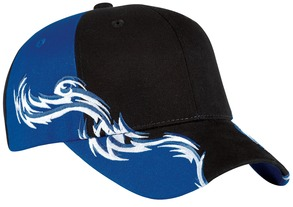 Colorblock Racing Cap with Flames. C859